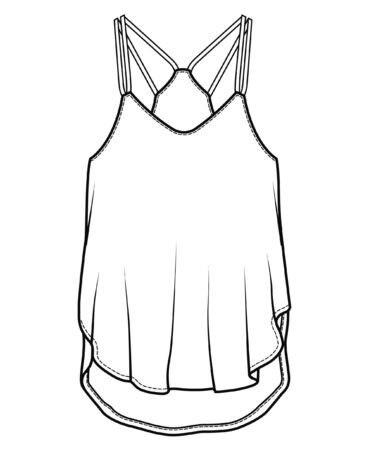 Spaghetti Strap TOP, Fashion Flat Sketch Template