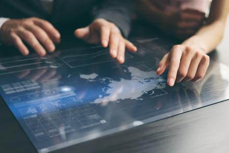 Working on progect using hi technology digital tablet