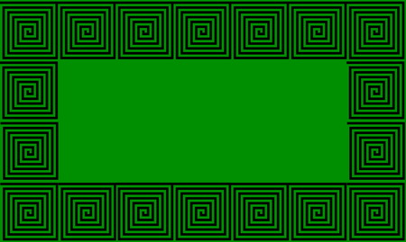 Green and Black Frame Ancient Greek meander seamless pattern, simplistic black historical background. Geometric Optical Illusion Seamless Wallpaper. Stock Photo