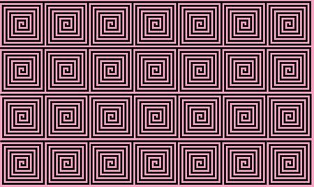 Light Pink and Black Ancient Greek meander seamless pattern, simplistic black historical background. Geometric Optical Illusion Seamless Wallpaper. Stockfoto