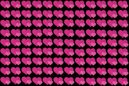 Pink Heart Shape on Black Background. Hearts Dot Design. Can be used for Articles, Printing, Illustration purpose, background, website, businesses, presentations, Product Promotions etc.