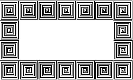 White and Black Frame Ancient Greek meander seamless pattern, simplistic black historical background. Geometric Optical Illusion Seamless Wallpaper.