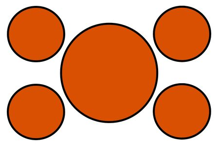 Orange Circular Banners, Black Border and White Background. Use for Illustration purpose, background, website, businesses, presentations, Product Promotions.. Empty Circles for Text, Data Placement. Stockfoto