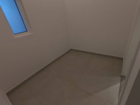 An empty room. Dark concrete style. Store Room. Vacant Room with space for storage with wooden flooring.