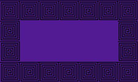Purple and Black Frame Ancient Greek meander seamless pattern, simplistic black historical background. Geometric Optical Illusion Seamless Wallpaper. Stockfoto