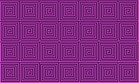 Pink and Black Ancient Greek meander seamless pattern, simplistic black historical background. Geometric Optical Illusion Seamless Wallpaper.