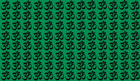 Green Background with Traditional Indian symbols: mantra, om, ganesh. Seamless pattern with Spiritual Yoga Symbol of Om, Aum ,Ohm India symbol Meditation, yoga mantra hinduism buddhism zen, icon.