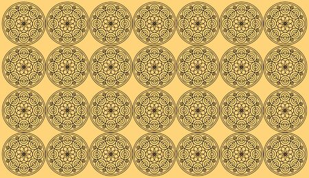 Frame of round mandala on orange background. Seamless pattern tile with round floral mandalas. Islam, Yoga, Arabic, Indian, ottoman motifs. Perfect for printing on fabric or paper. Stockfoto