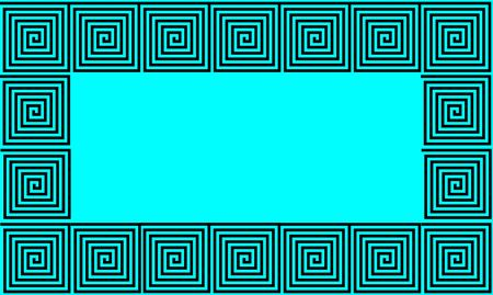 Blue and Black Frame Ancient Greek meander seamless pattern, simplistic black historical background. Geometric Optical Illusion Seamless Wallpaper.