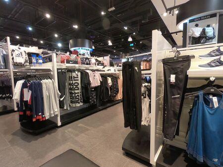 Dubai UAE - April 2019 - Sports Clothes displayed for sale in a mall in Dubai.