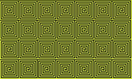 Yellow and Black Ancient Greek meander seamless pattern, simplistic black historical background. Geometric Optical Illusion Seamless Wallpaper. Stockfoto