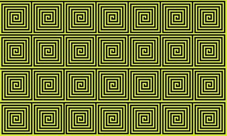 Yellow and Black Ancient Greek meander seamless pattern, simplistic black historical background. Geometric Optical Illusion Seamless Wallpaper. Reklamní fotografie