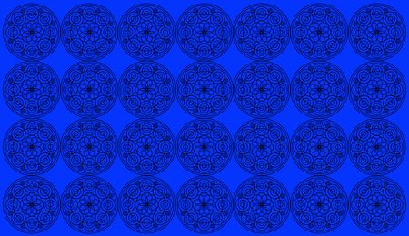 Seamless pattern tile with round floral mandalas. Islam, Yoga, Arabic, Indian, ottoman motifs. Perfect for printing on fabric or paper. Set of round mandala on royal blue background.