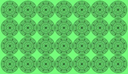 Seamless pattern tile with round floral mandalas. Islam, Yoga, Arabic, Indian, ottoman motifs. Perfect for printing on fabric or paper. Set of round mandala on green background.