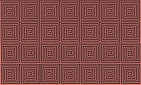 Peach and Black Ancient Greek meander seamless pattern, simplistic black historical background. Geometric Optical Illusion Seamless Wallpaper.
