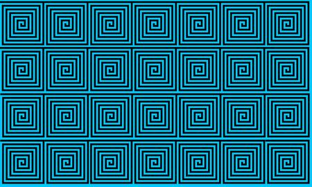 Light Blue Ancient Greek meander seamless pattern, simplistic black historical background. Geometric Optical Illusion Seamless Wallpaper. Reklamní fotografie