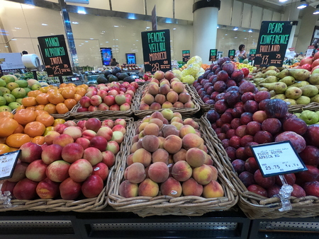 Dubai UAE - May 2019: Plums, Peaches, Orange Pears displayed for sale at a supermarket. Fruits stocked for purchase in market.