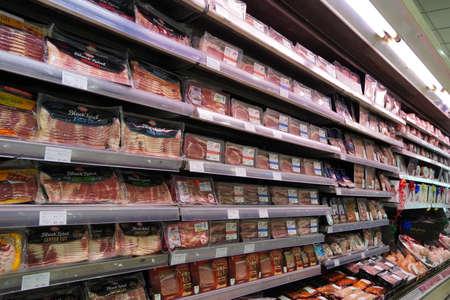 Meat, Supermarket, Butcher. Packets Of Meat At The Supermarket. Meat Aisle In Supermarket. Packaged Meats In Supermarket Refrigerated Section. Bacon, Turkey, Chicken, Steak- Dubai Uae December 2019