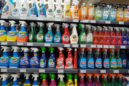Cleaning Supplies, Sprays, Liquids Cleaning Detergents For Sale On Supermarket Stand. Bottles With Cleaning Products For Cleaning House Of Various Manufacturers On Shelves. - Dubai Uae December 2019 Editorial