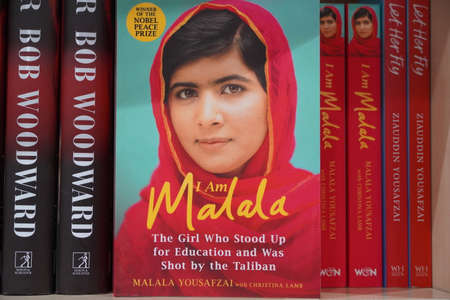 Dubai UAE December 2019 Book of Malala Yousafzai Pakistani activist for female education and the youngest Nobel Prize laureate on the book store. Sajtókép