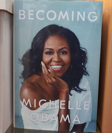Becoming book written by Michelle Obama at the bookstore. Books by Michelle Obama displayed on the shelves of a book shop. Library - Kochi, India: January 2020