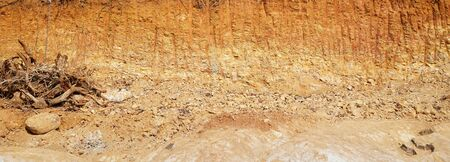Deforestation close up with roots, rocks showing in sunlight. Red and yellow rocks where soil was dug from forest using an excavator in construction site. Sand excavation concept.