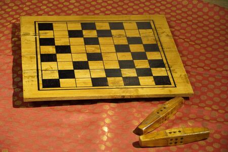 Vintage set of Parcheesi game of dice played in the epic poem Mahabharata. Set is made of wax and displayed at Kochi airport. Kochi India - March 2020