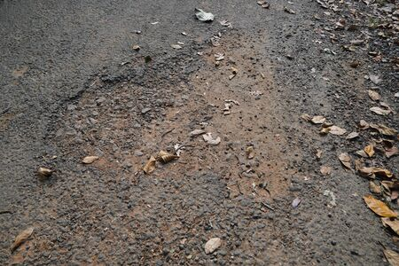 Damaged asphalt pavement road with potholes in rural area. Dry brown leaves are present.