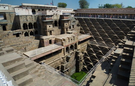 chand: Indian old deep Well Chand Baori panorama Stock Photo