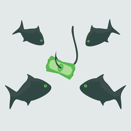 Business shark with money Vector