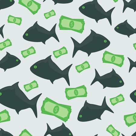 Business shark with money dollars seamless pattern Vector
