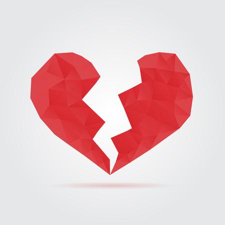 broken love: Red broken polygonal heart
