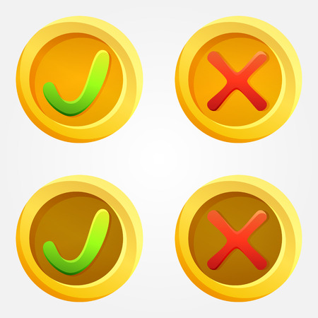 Bright check and cross vector buttons in yellow circles Vector