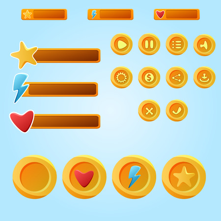 dev: Bright yellow mobile elements For Ui Game - a set game development buttons Illustration