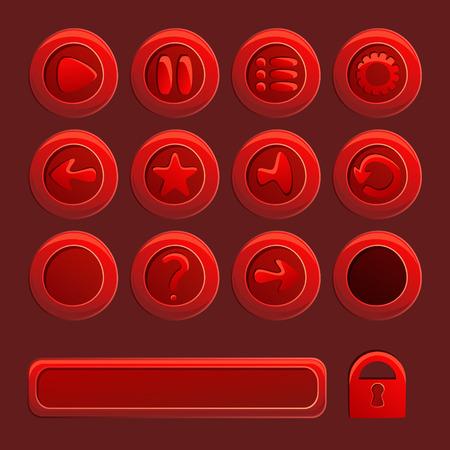 restart: Mobile red vector elements For Ui Game - a set of play, pause, sound, restart, options, menu buttons Illustration