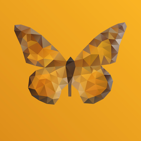 Orange bright vector butterfly in polygonal technique Vector
