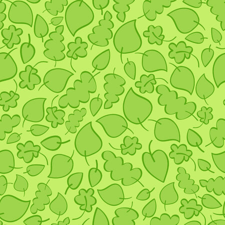 Seamless vector pattern with bright green spring leaves Illustration