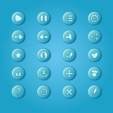 dev: Set of mobile bright blue vector elements for UI Game Design (game dev icons) Illustration