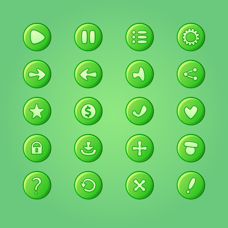 dev: Set of mobile bright green vector elements for UI Game Design (game dev icons)