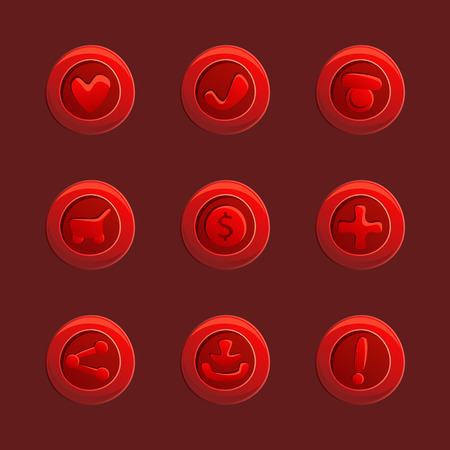 dev: Set of red vector elements For Ui Game Illustration