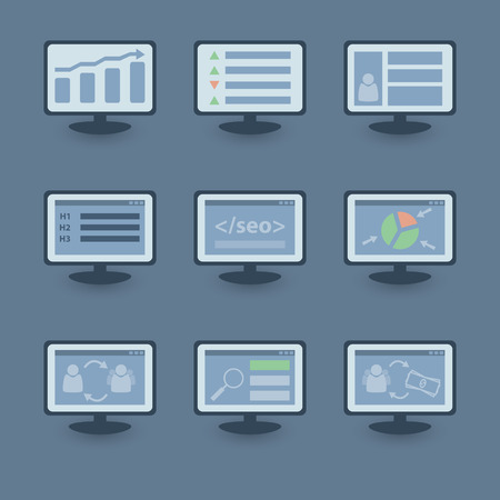 Set of SEO icons Stock Vector - 29881763