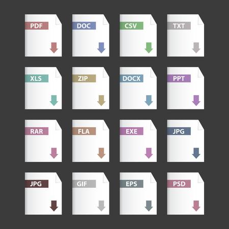 xls: Vector file extensions icons set  pdf, mp3, txt, doc, docx, jpg, zip, csv, ppt, xls, rar  Illustration
