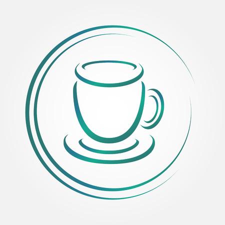 Vector icon of blue tea or coffee cup Vector