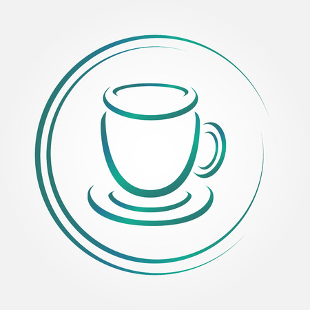 instant coffee: Vector icon of blue tea or coffee cup Illustration