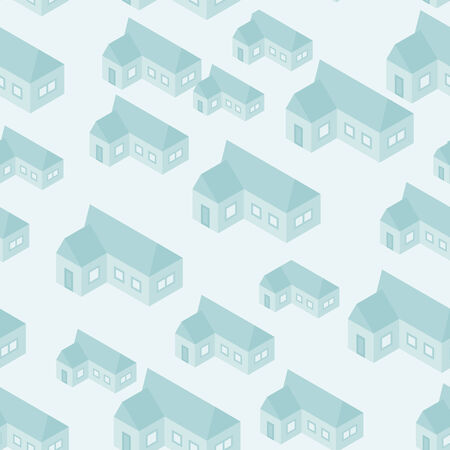 Vector simple isometric abstract houses seamless pattern Vector
