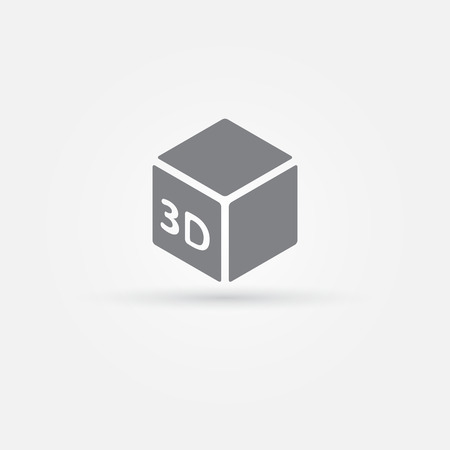 3D Print vector icon - 3d cube Printing symbol Vector