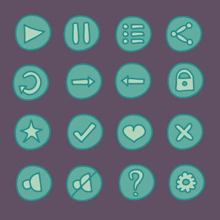Flat game Ui hand drawn buttons set in doodle style Vector