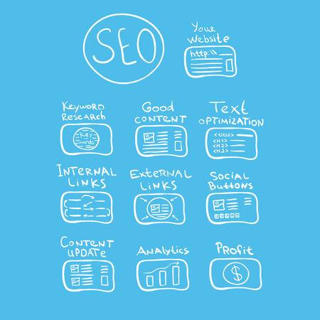 search engine optimization: Search engine optimization - vector seo doodle concept Illustration