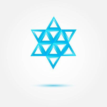 jewish star: Abstract Jewish star made by triangles - vector symbol