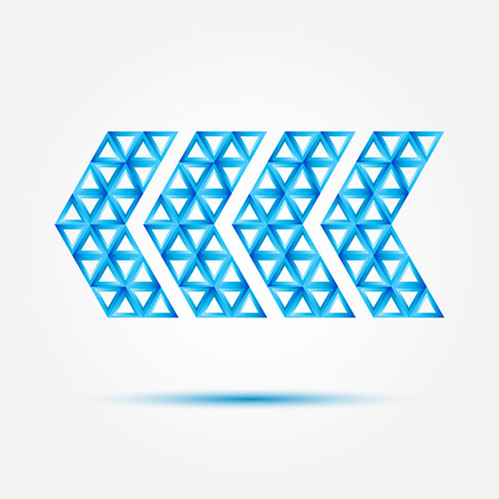 Pointer icon  made with triangles - vector blue abstract geometric sybmol Vector